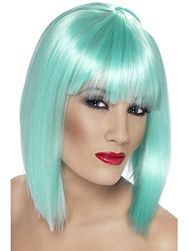 [Smiffy's Women's Short Blunt Cut Neon Aqua Wig with Bangs, One size, Glam Wig, 5020570421376] (Neon Green Wigs)