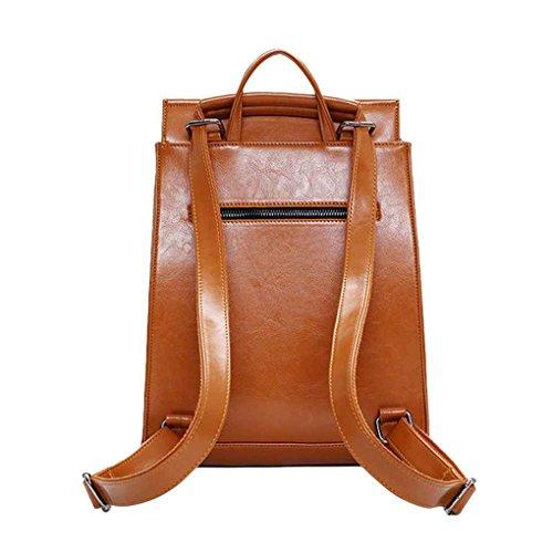 Republe Bolsillo de gran capacidad mochila de hombro suave color sólido bolso al aire libre Mochila Sackback Viaje estudiantes de la escuela marrón