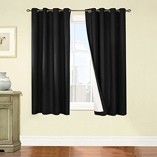 jinchan Thermal Backing Blackout French Door Panels / Drapes (One Piece, 50 by 63-Inch, Black)