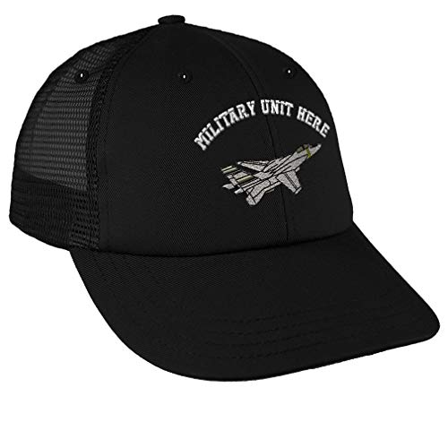 Custom Snapback Baseball Cap F-14 Tomcat Embroidery Military Unit Cotton Mesh Hat Snaps - Black, Personalized Text ()