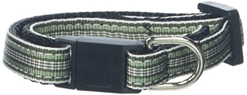Mirage Pet Products Preppy Stripes Nylon Ribbon Cat Safety Collars, Green/White