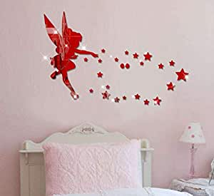 Cartoon lovely Acrylic 3D angel star wall stickers living room bedroom TV background decoration mm