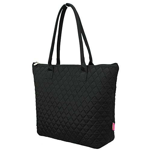 Ngil Quilted Cotton Owl Medium Tote Bag II (Solid Black)