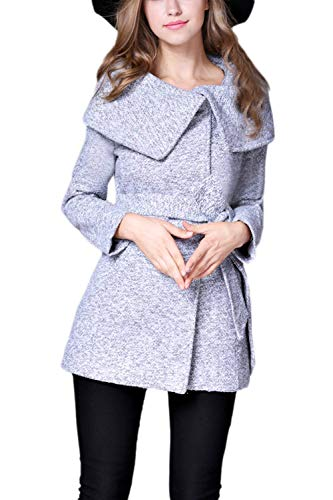 Cómodo Otoño Fashion Chaqueta Retro Cinturón Exteriores Grey Primavera Manga Elegantes Prendas Hipster Casual Adelina Mujer Chaquetas Larga Unicolor Outerwear Abrigos Con BqPgFP