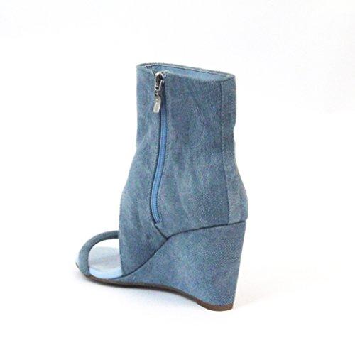 Reino cuña talón de 3 DE denim BCBGeneration funda Ankle de El boot de Unido la 5 £128 Chambray del tamaño negro E6qOd0Owx