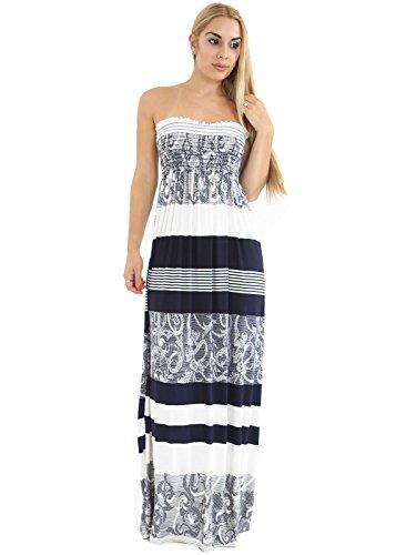 Womens Dames Robe Maxi Bustier Imprimé Sheering Bandeau Boob Tube Tailles Plus Bleu Marine Abstraite B & W