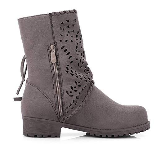Low Bandage 43 Heel Schuhe Elegant Grau Schuhe Casual Winterstiefel Aushöhlen Wildlederstiefel Outdoor 35 Warm Flock Mittelrohrstiefel Damen Sonnena twzqapp