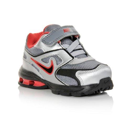 Nike Kids Reax Run Dominate (TD) Grey Silver Red Toddler (Nike Reax Run)
