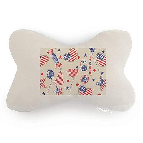 (DIYthinker USA Balloon Candy Heart Flag Star Festival Car Neck Pillow Headrest Support Cushion Pad )