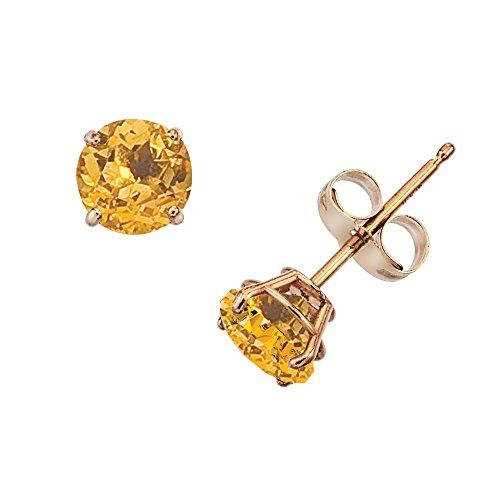 (14k Gold Genuine .50ct TW Citrine November Birthstone Girls Earrings)