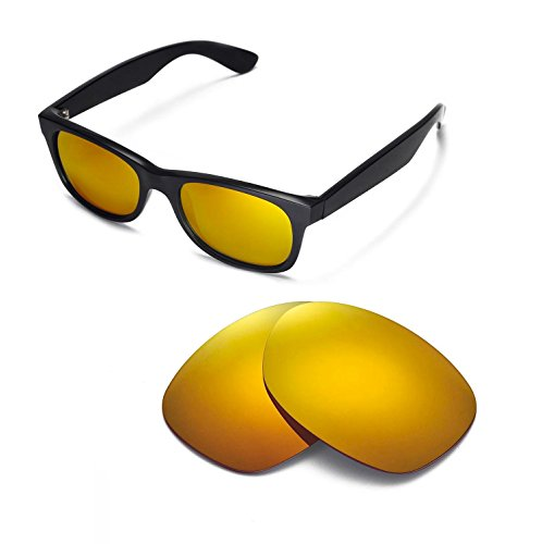 Walleva Replacement Lenses for Ray-Ban Wayfarer RB2132 52mm Sunglasses - 9 Options Available (24K Gold Mirror Coated - ()