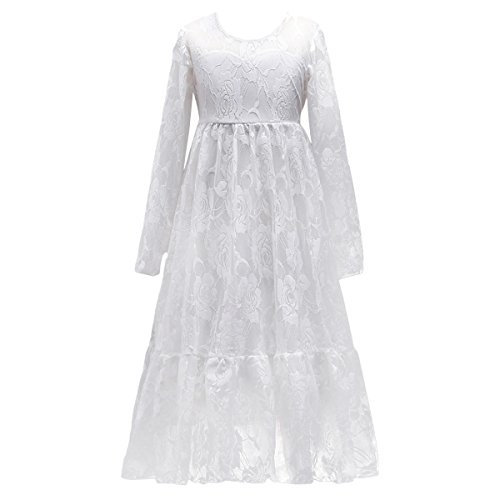 - Kids Girl White Ivory Long Sleeve Flower Lace Tulle Princess Dress Boho Rustic Wedding Party Maxi Gown