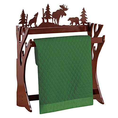 Collections Etc Northwoods Nature Scene Quilt Display Rack, Cabin Decor - Living Room & Family Room Decorative Accent