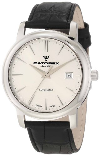Catorex Men's 8170-2 Attractive Automatic Silver Dial Crocodile Patterned Leather Watch