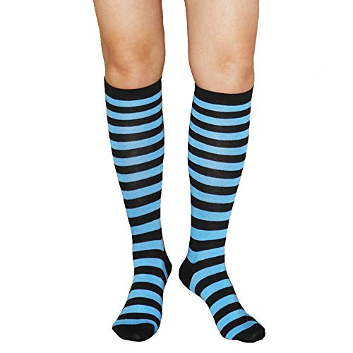Unisex Knee High Socks Womens Girls Striped Over Calve Athletic Soccer Tube Cool Fun Party Cosplay Socks, Turquoise+Black,One Size 6-11 -