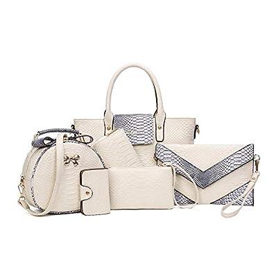 ddf24e6c01b8 Powerpak Women s Crocodile Pattern Glossy Finish PU Synthetic Leather  Handbag (Off White) - Set of 6  Amazon.in  Shoes   Handbags