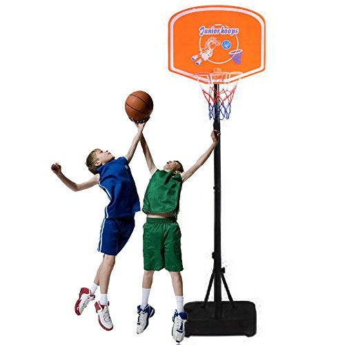 Cu AlightUp Portable Kids Junior Height-Adjustable Basketball System from 4.1 Feet to 5 Feet Basketball Hoop Stand W/ 19.7
