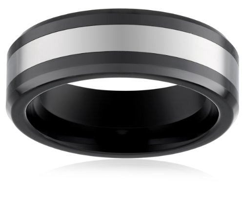 Mens-Plain-Ceramic-7mm-Comfort-Fit-Plain-Wedding-Band-High-Polished-with-Cobalt-Inlay-and-Beveled-Edges