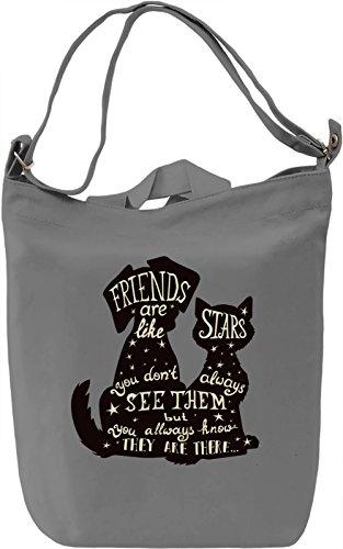 Friends are like stars Borsa Giornaliera Canvas Canvas Day Bag| 100% Premium Cotton Canvas| DTG Printing|