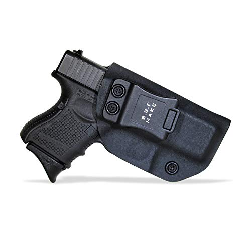 B.B.F Make IWB KYDEX Holster Fit: Glock 26 27 33 (Gen 1-5) | Retired Navy Owned Company | Inside Waistband | Adjustable Cant | US KYDEX Made (Black, Right Hand Draw (IWB))