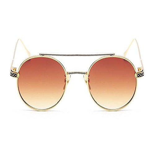 Moda Hombre UV400 Marco Unisex Redondas Vigas Marrón Vintage de Espejo Xinvision Clásico Metal Mujer Gafas Nariz o Oro sol waSqnPO8