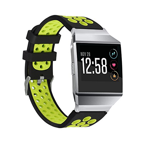 bayite Soft Silicone Sport Bands Compatible Fitbit Ionic Replacement Band Perforated Breathable Accessories Wristband Women Men Black with Fluorescent Yellow