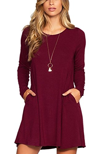 Womens Casual Plain Long Sleeve Simple T-shirt Loose Pockets Dress, Small, A22_wine