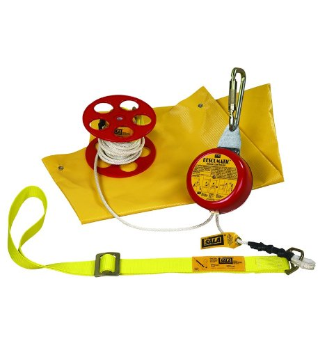 3M DBI-SALA Rollgliss Rescumatic 3300050 Automatic Descent Control Kit, 50′, with Body Sling, Anchoring Carabiner, Rope…