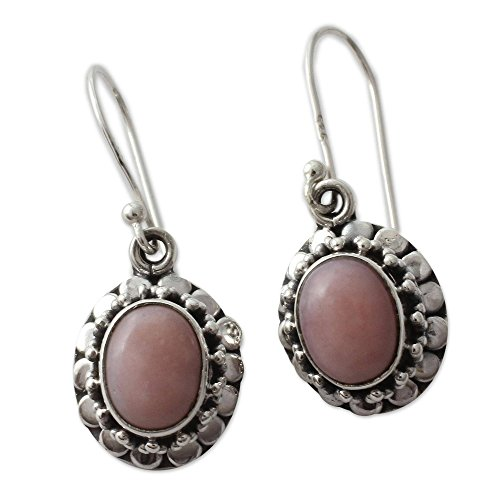 (NOVICA .925 Sterling Silver and Pink Opal Flower Dangle Earrings, Peace')