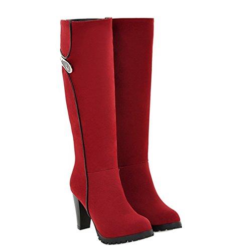 Enmayer Femmes Mode Nubuck Talons Hauts Glissière Bottes Rouge