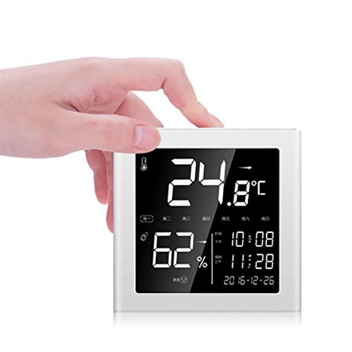 RUIX Thermo-Hygrometer Baby Room Indoor Thermometer Multi-Function Children's Backlight Room Temperature Meter With Alarm Clock by RUIX