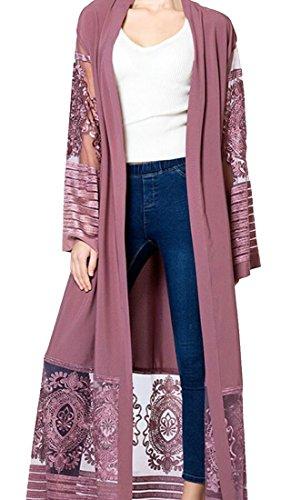Generic Women's Casual Muslim Islamic Open Front Abaya Jilbab Dress Coat Purple L by GenericWomen