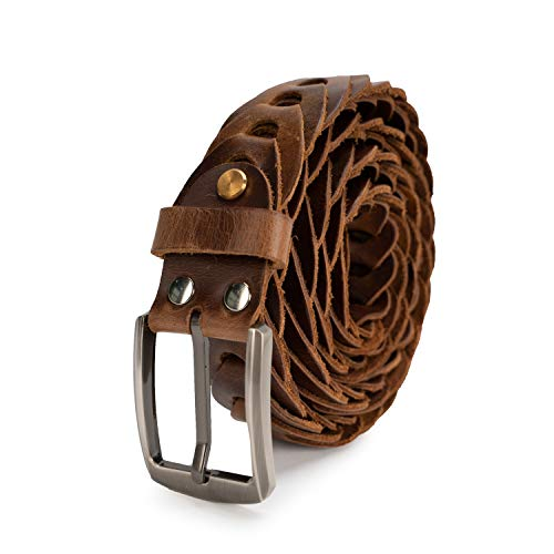 Sancater Men's Hand-Crafted Italian Cow Leather Braided Belt In Gift -