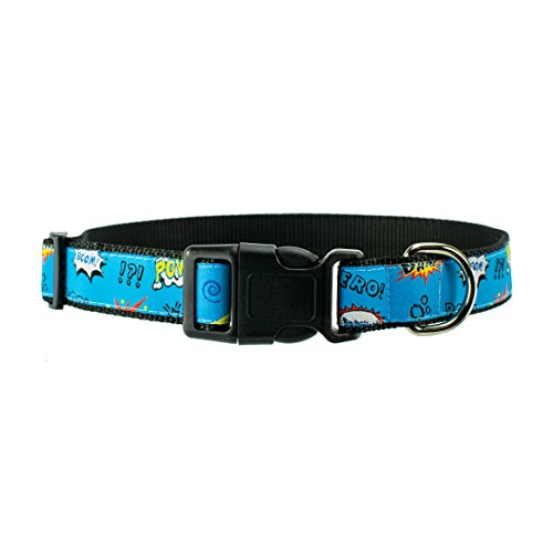 DOG & COMPANY Superhero Pattern - 1'' wide Heavy Duty Adjustable Pet Collar (Medium) by DOG & COMPANY
