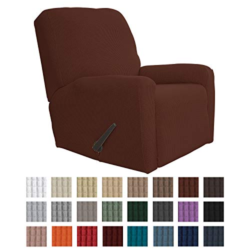 Easy-Going Recliner Stretch Sofa Slipcover Sofa Cover 4-Pieces Furniture Protector Couch Soft with Elastic Bottom Kids, Spandex Jacquard Fabric Small Checks(Recliner,Coffee)