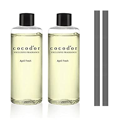 Cocod'or Scented Essential Oil Reed Diffuser Refill 2 bottles (6.7 fl oz x2) with 10 Reed Sticks …