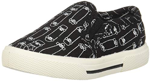 carter's Boys' Damon Casual Slip-on Sneaker Skate Shoe, Black, 9 M US Toddler