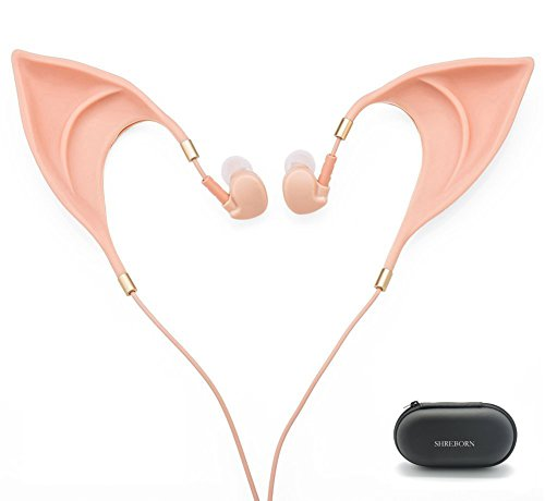 Price comparison product image Elf Earbuds Headphones - SHREBORN Elegant Elves Ear Design Ultra-Soft Corded Earphone with Mic Perfect Sound Quality Fairy's Adorable Cosplay Headset Spirit Costume accessories