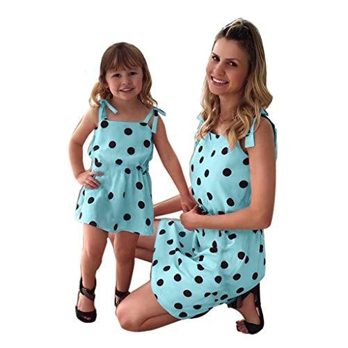 Franterd Mommy & Me Mom & Baby Parent-Child Sleeveless Polka Dot Prin Strap Family Matching Summer Mini Dress -