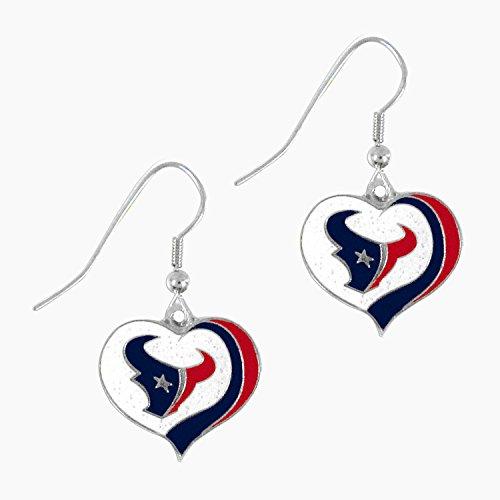 aminco NFL Houston Texans Women's Sports Team Logo Swirl Heart Glitter Earring Set, One Size, ()