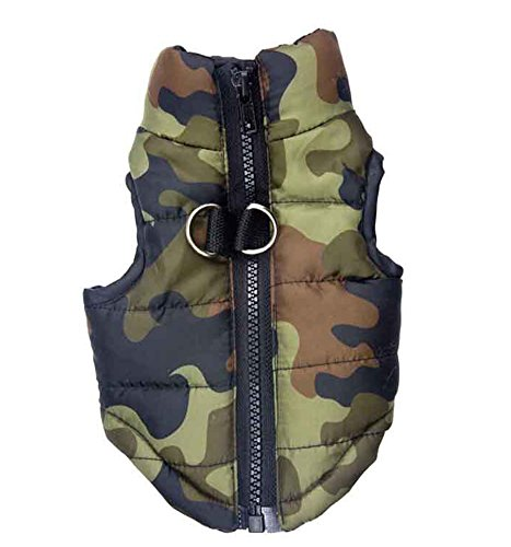 12' Dog Leash Camo - Vedem Dog Camouflage Puffer Zipper Quilted Vest Coat (S, Camo #6)