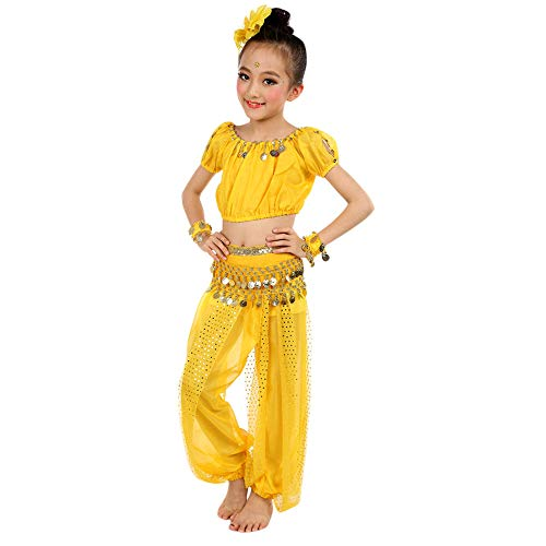 JOFOW Kid Girls Costume Set Carnival Halloween Belly Dance Outfit Festival Indian Sequin Sparkle Halter Top Harem Pants (130CM,Yellow) ()