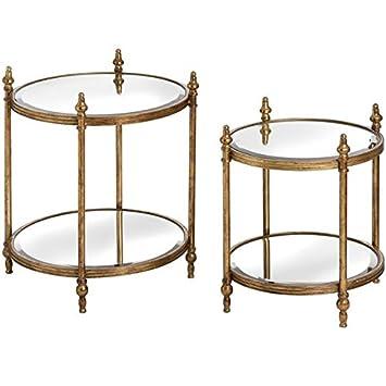 Hill Innenausstattung-Set von Zwei Antik Gold Runde Tische: Amazon ...