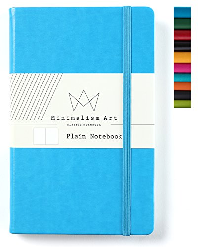 (Minimalism Art, Classic Notebook Journal, A5 Size 5 X 8.3 inches, Blue, Plain Blank Page, 192 Pages, Hard Cover, Fine PU Leather, Inner Pocket, Quality Paper-100gsm, Designed in San)