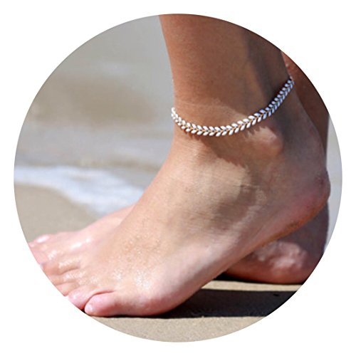 Fettero Anklet Bracelet Handmade Beach Boho Foot Jewelry Gold Heart Chain Drip Oil White Arrow