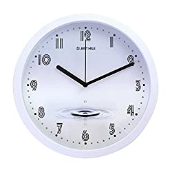 JustNile 10 Creative Round Quiet Sweep Movement Wall Clock, White Frame and Black Hands, Water Drop