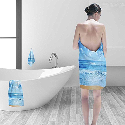 Printsonne 100% Cotton Super Absorbent Bath Towel Beach with Sea Waves in a Bright Day Idyllic Ocean Island Summer Scenery Fast Drying, Antibacterial ()