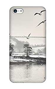 Inthebeauty Perfect Tpu Case For Iphone 5c/ Anti-scratch Protector Case (Winter Scene Black And White)