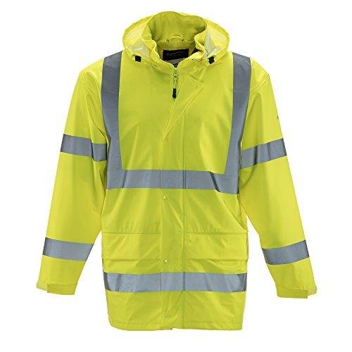 Safety Rainwear - Refrigiwear Men's Hivis Lightweight Rainwear Jacket - ANSI Class 3 High Visibility Lime with Reflective Tape (Lime, 2XL)