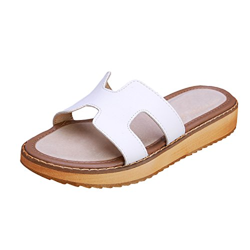 Smilun Flop Thong Strap H Gladiator Toe Lady's Sandal Wedge Flip Sandals White rtFwnIrAq